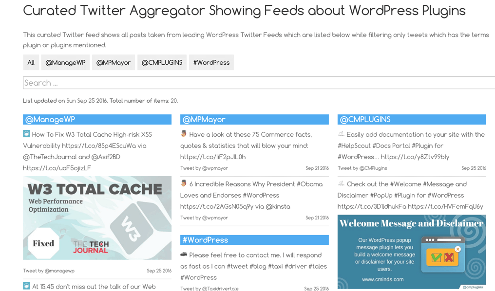 Aggregated twitter feeds - List view