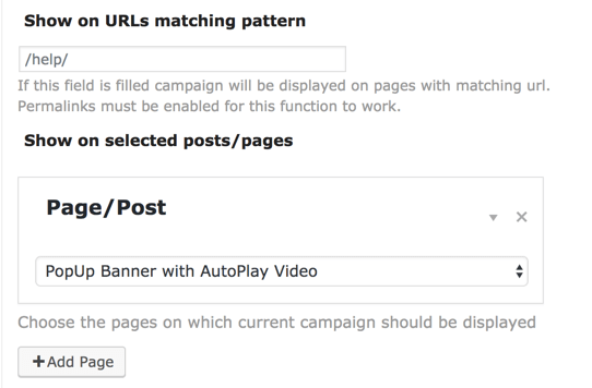 Plugin Setting for Defining Specific Pages per each Campaign