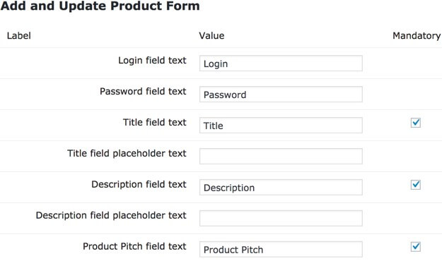 Setting screen showing part of the product form settings