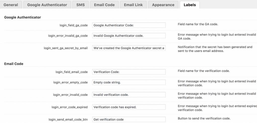 Secure Login labels settings