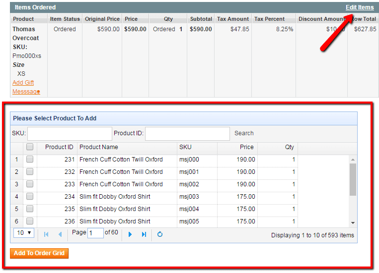 Editing products list in an existing order. The widget at the bottom allows admin to add new items