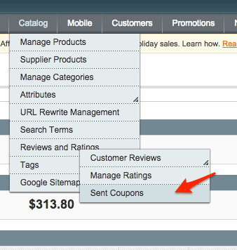 Product review extension for Magento menu