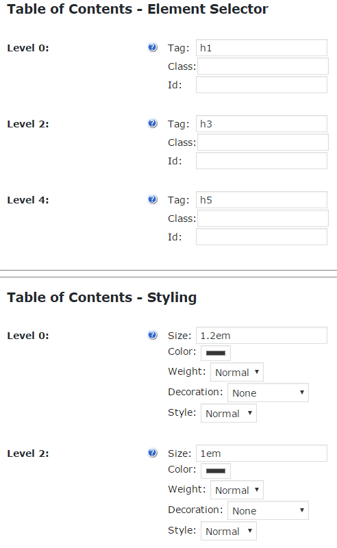 Setting Section Allowing you to Define which Tags to Use for Generating the TOC and How to Style each Level